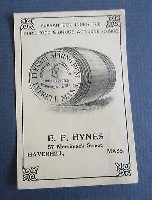 ca 1910 HAVERHILL EVERETT MASS MASSACHUSETTS RUM LABEL F E HYNES