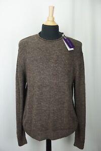 Ralph Lauren Purple Label RLPL Brown Mulberry Tussah Silk Blend Sweater XL NEW