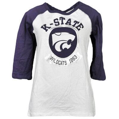 PüNktlich Ncaa Kansas Staat Wildcats 1863 Folie Logo Mitte Ärmel T-shirt Damen Erwachsene Baseball & Softball Fanartikel