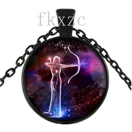 3 Pcs 12 constellation série Rétro en Verre Noir Collier Pendentif A3