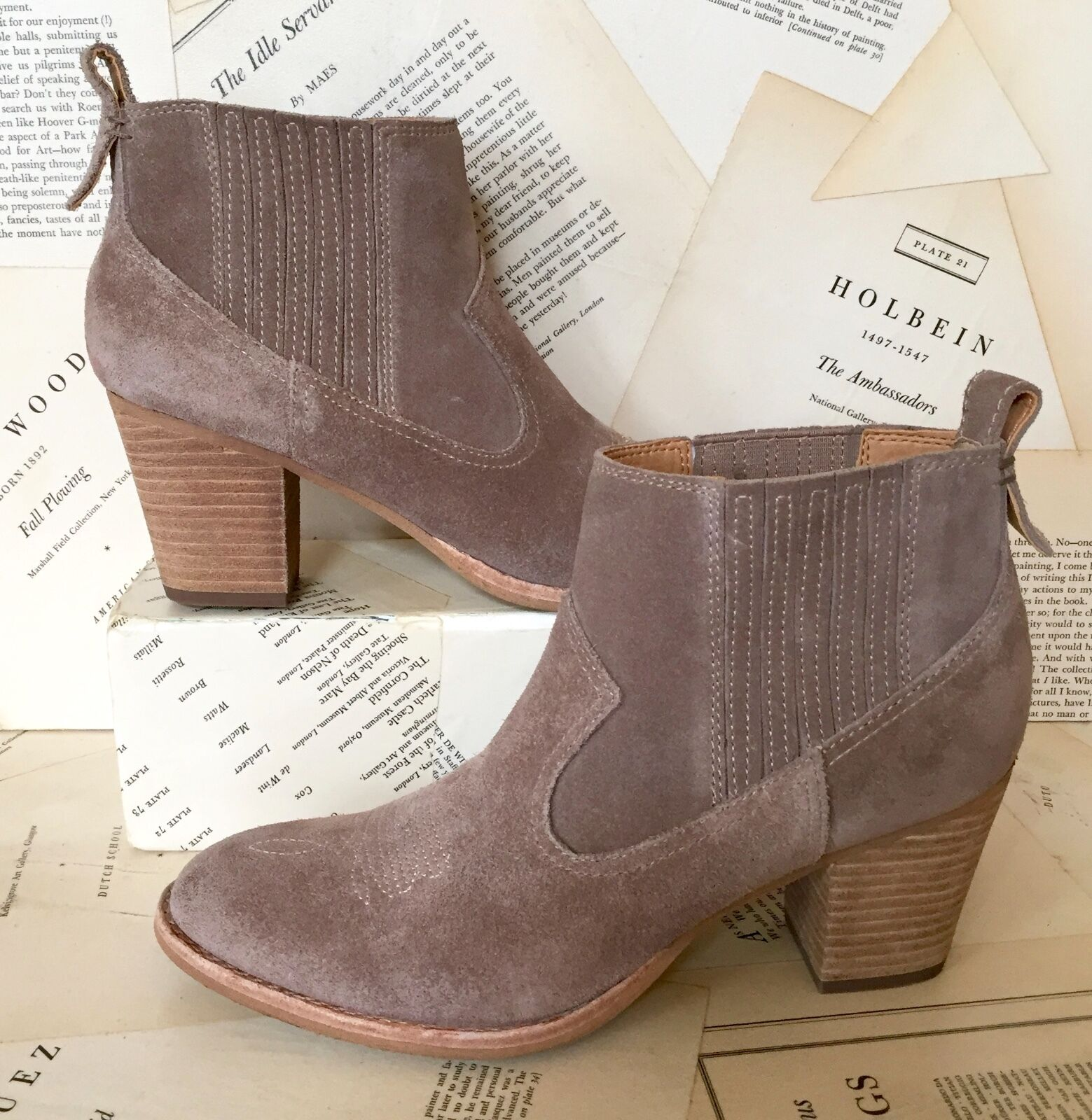 NEW Pull Free People Dolce Vita taupe Suede Western Chelsea Pull NEW On Ankle Stiefel 8.5 951287