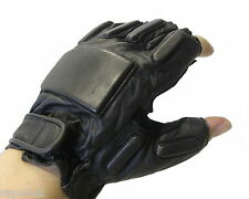 Paintball SWAT Tactical Leather Gloves (Half Finger - Black) Extra Large  [FC1]