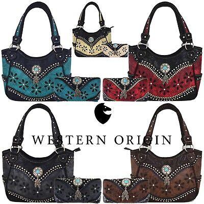 Western Style Tooled Leather Purse Country Handbag Women Shoulder Bag Wallet Set Ebay