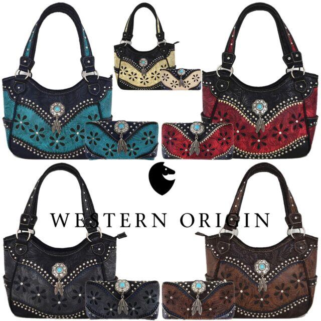 2529461a249 Western Style Tooled Leather Purse Country Handbag Women Shoulder Bag  Wallet Set