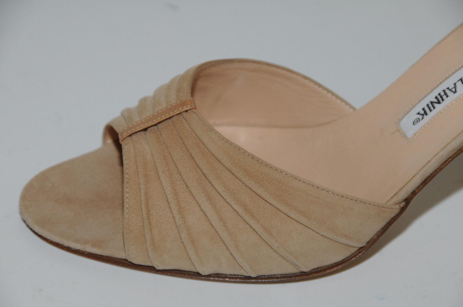 775 New MANOLO BLAHNIK SEDARABY Camel Flesh NUDE Beige Beige Beige marron Suede chaussures 40 98ddd2