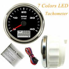 85mm Black Tachometer 4000rpm Rev Counter For Auto Gas Diesel Engine 7 Color Led