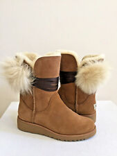9d49cfd2042 UGG Brita Chestnut Leather Sheepskin Satin Lace Women`s Shoes Size ...