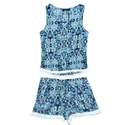 New Kids Girls Floral mix printed tassel laced Vest and Short Set Age 4-14 Year