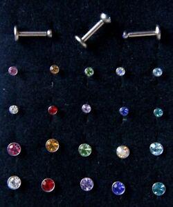 6-8mm-Internally-Threaded-Bar-Labret-Color-2-3mmCrystal-Gem-Earring-Stud-Helix