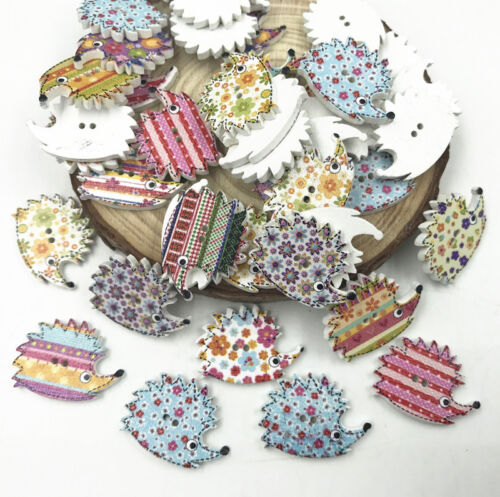 50pcs Mixed color Wooden Buttons Hedgehog 2 holes Fit Sewing scrapbooking 25mm