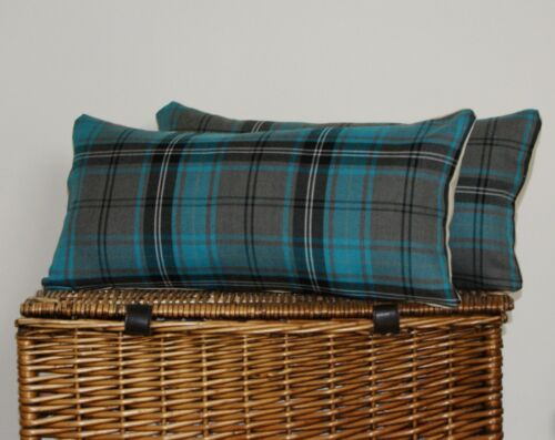 OBLONG CUSHION COVER TEAL BLUE GREY TURQUOISE TARTAN  BOLSTER COUNTRY BALMORAL**
