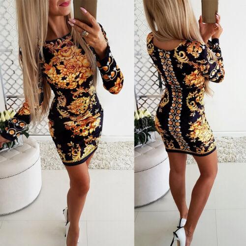Woman Long Sleeve dress Golden Floral Printed O Neck Bodycon Mini dress