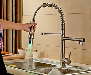 Image Is Loading LED Pull Down Spray Kitchen Sink Faucet Swivel