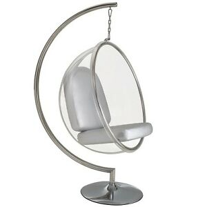 Eero aarnio standing hanging bubble chair with silver or for Bubble hanging chair ikea