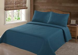 Nena-2-3-Piece-Bed-Bedspread-Soft-Quilt-Coverlet-Solid-Stippling-Stitch-Set