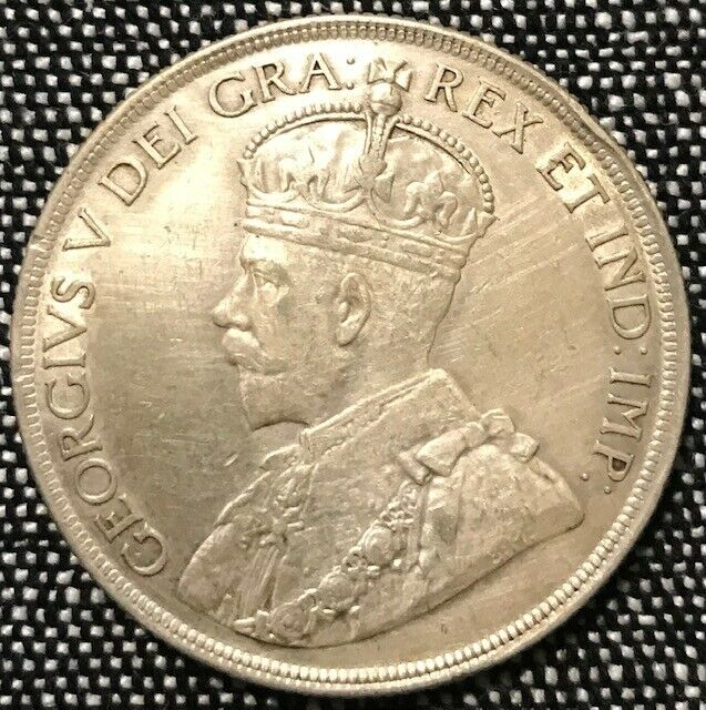 1936 CANADA SILVER DOLLARS 80% SILVER COIN - KING GEORGE V -  84 yrs old