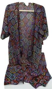 Lularoe-Shirley-Donna-Kimono-Taglia-Small-Colore-Nero-Stampa-Geometrica-Modello