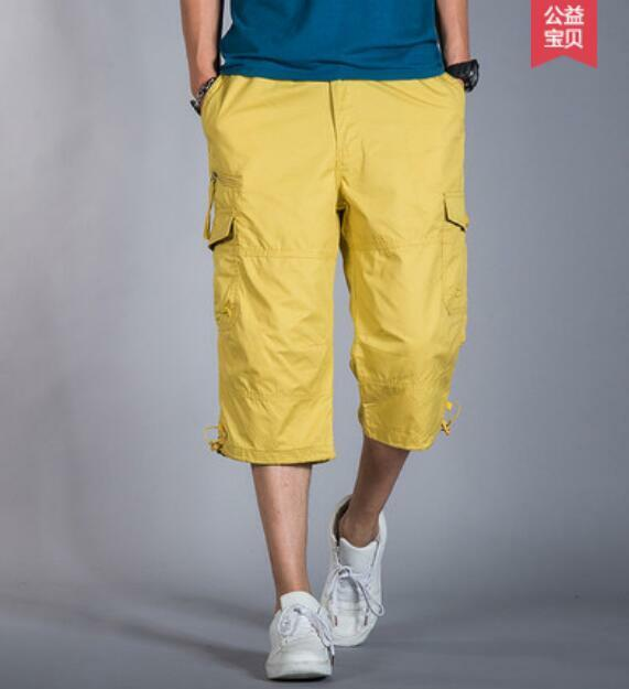 Mens Mid Long Cotton Cargo Baggy  Leg Casual Shorts Military Camo Pants Plus SZ
