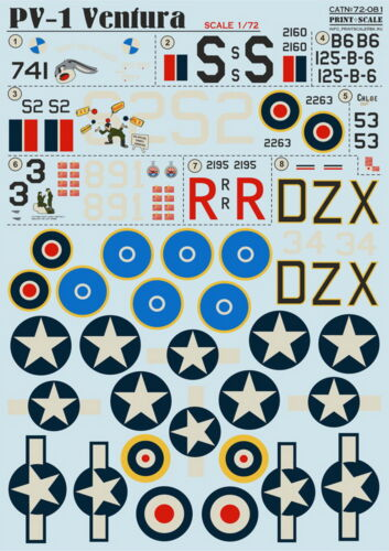 Print Scale 72-081 Decal for PV-1 Ventura 1:72