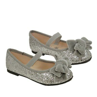Toddler Girls Size 3 6 7 NWT Koala Kids Shimmery Silver Shoe with Black Bow