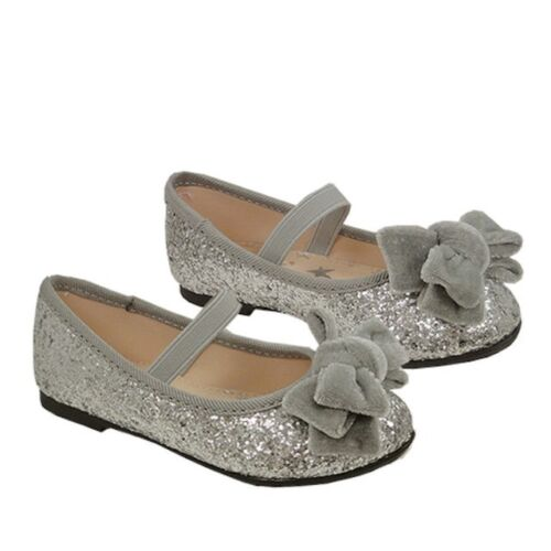Toddler Girls Size 4 6 7NWT Koala Kids Silver Ballet Shoes with Bow Toddler