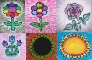 Kids Handmade Tie Dye Shirt Spring Flowers Daisy Rose Tulip