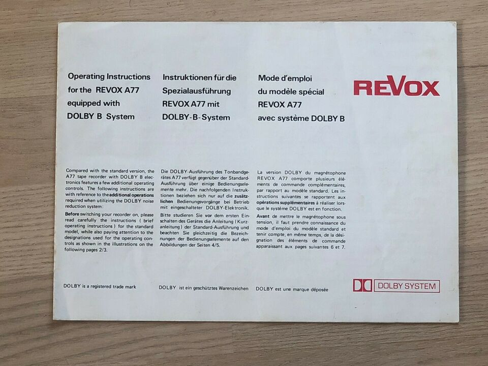 Spolebåndoptager, Revox, A77 mk. IV DOLBY