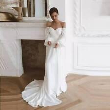 Off the shoulders elegant simple wedding dress Modest bohemian beach bridal gown