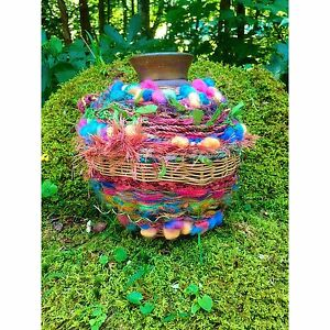 Woven-Pottery-Jug-Bear-Claw-Makers-Mark-Decorated-Colorful-Wool-Thread-Beads
