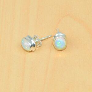 925 Solid Sterling Silver Natural Ethiopian Opal Stud Earring-afficher Le Titre D'origine Haute SéCurité