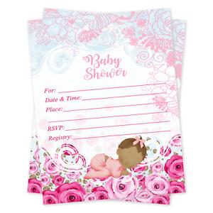 20 girl baby shower invitations cards invites decorations image is loading 20 girl baby shower invitations cards invites decorations filmwisefo