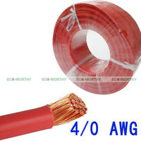 10' Welding Cable 4/0 Awg Red Bare Copper Solar Panel Wire Photovoltaic Cable