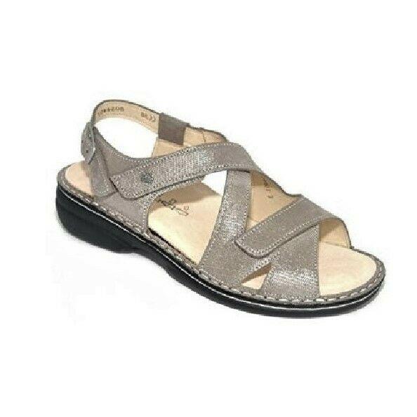 FINN COMFORT WOMEN'S SANDALS SANTORIN REAL LEATHER FANGO-MUD