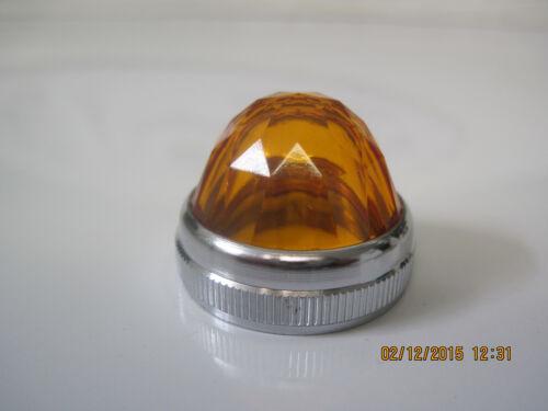 "DIALCO Dialight 1/"" Amber Panel Lamp Holder 75W 125V Jewel Cut Lens Steampunk NOS"