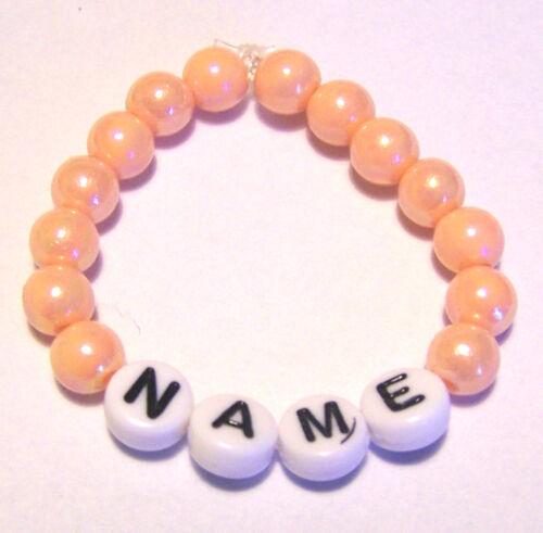Kinder Baby Armband mit Namen orange Taufe Geburt Klinik Geschenk elastisch *