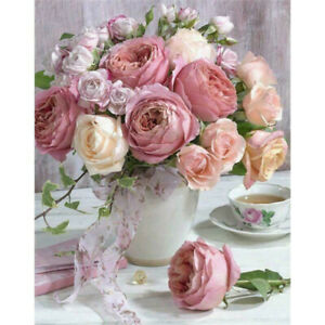 5D-DIY-Full-Drill-Diamond-Painting-Pink-Flowers-Cross-Stitch-Embroidery-Kit