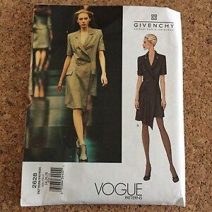 Alexander McQueen for Givenchy Vogue Asymmetrical Dress Pattern 2628 Uncut 14-18