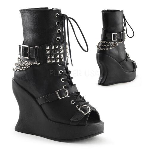 compensées et bottes avec gothique avec Bravo chaînes punk 89 Bottes noires Demonia tqaSTt