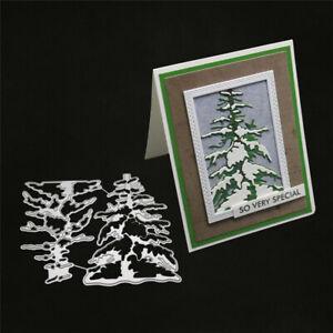 Stanzschablone-Tannenbaum-Schnee-Weihnachts-Hochzeit-Geburtstag-Karte-Album-Deko