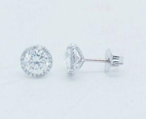 18K-White-Gold-1-40ctw-G-VS2-Round-Cut-Natural-Diamond-Halo-Stud-Earrings