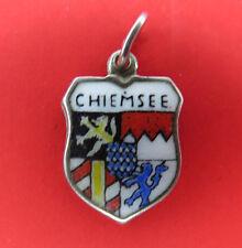 Vintage 800 Reu Silver Bracelet Charm Enamel Shield Chiemsee Germany Travel 640g