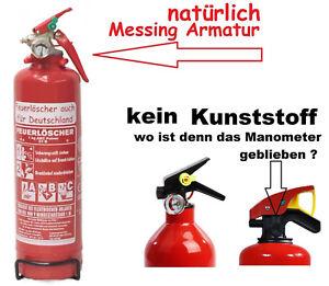 1-kg-Feuerloescher-Pulver-ABC-EN-3-KFZ-Halter-Auto-Mesingarmatur-kein-Kunststoff