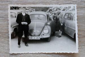 1x-Foto-Auto-Oldtimer-VW-Kaefer-1950-60er-Classic-Car-Kfz-Straubing-Kennzeichen