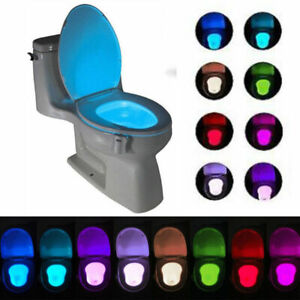 Motion Activated Sensor LED Toilet Night Light 8 Color Change Toliet Seat Lamp