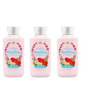LOT-OF-3-Bath-And-Body-Works-Bourbon-Strawberry-amp-Vanilla-Body-Lotion-8oz-236ml