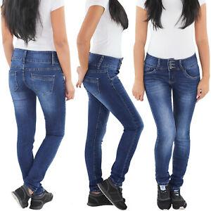 Damen-Stretch-Hueft-Slim-Fit-Skinny-Roehren-Jeans-Hose-Blau-Damenjeans-4221
