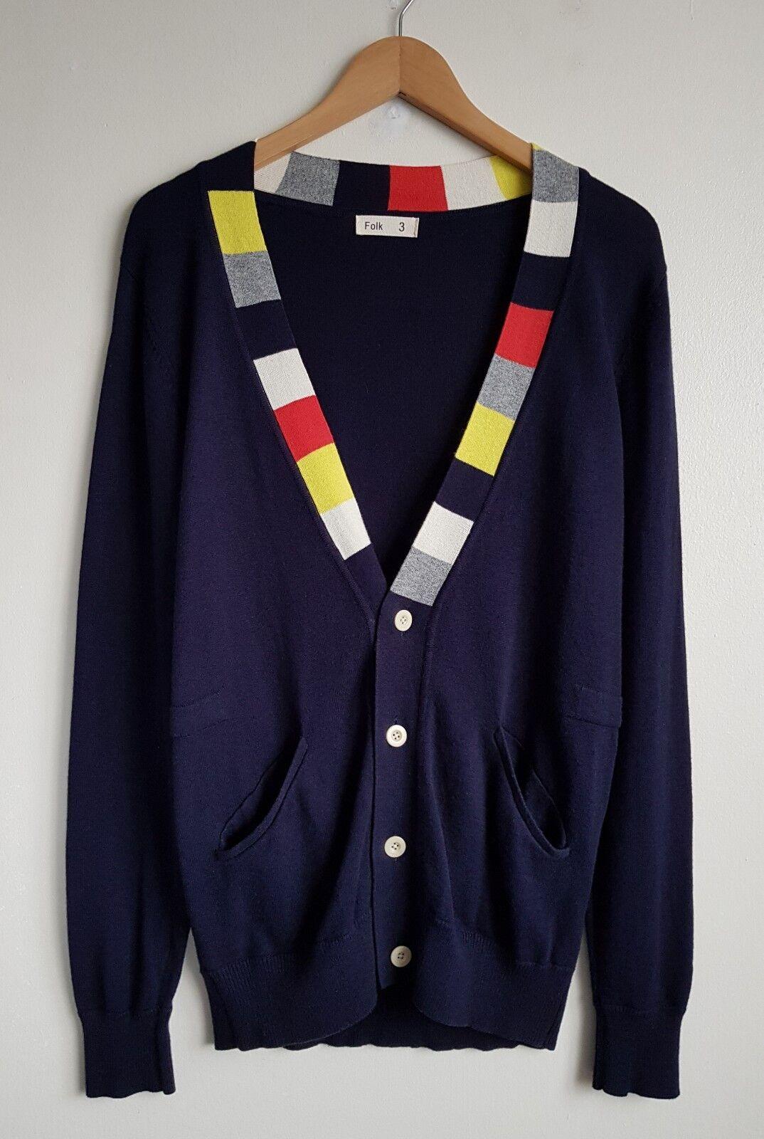 FOLK FOLK FOLK Clothing Donna Blu Scuro Misto Lana Cardigan Taglia 3 59979a