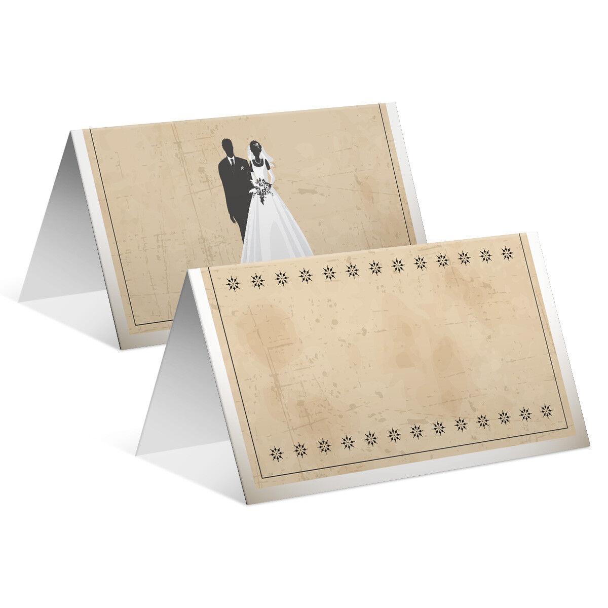 Blanko Platzkarte Tischkarten Geburtstag Hochzeit - Vintage Brautpaar Weiß   Kaufen Sie beruhigt und glücklich spielen    Verrückter Preis