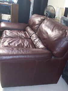 Used Burgundy Leather Sofa Love Seat