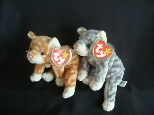 fc8af0f4d19 Image is loading TY-BEANIE-BABY-AMBER-AND-SILVER-THE-CATS
